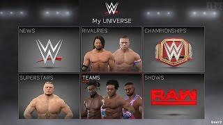 WWE 2K17 Official Menu, Match Types, Universe Mode Menus, CAW & Teams