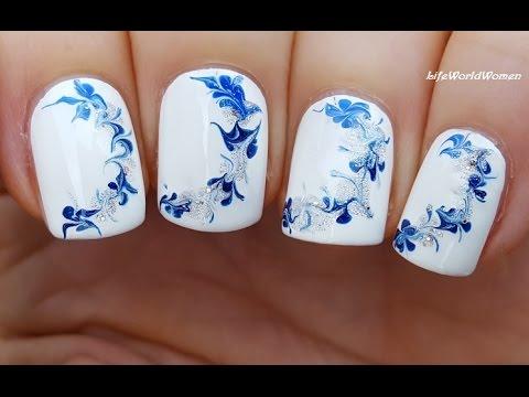 NEEDLE NAIL ART #14 - WINTER Drag Marble Nails Tutorial - YouTube