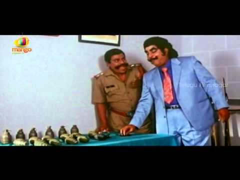 Kaikala Satyanarayana eats bullets and bombs - Yamaleela Movie...