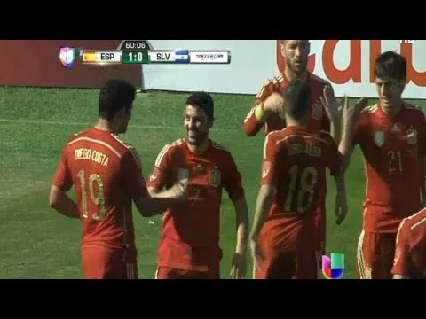 David Villa Amazing First Goal 1-0 El Salvador vs Spain 0-2 07.06.2014 Friendly