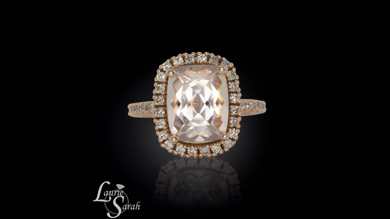 3 Carat Rectangle Cushion Cut Morganite Engagement Ring