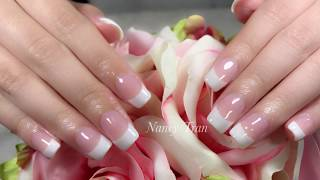 How to create easy Classic Pink & White Nails with Dipping Powder.