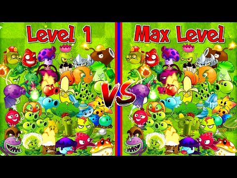 Every Plant Level 1 vs Max Level Plants vs Zombies 2 Primal Newspaper Zombie PVZ 2