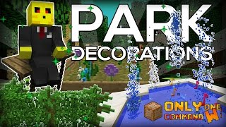 Park Decorations in Vanilla Minecraft with only two command blocks.