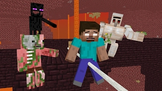 Monster School: Slackline Challenge - Minecraft Animation