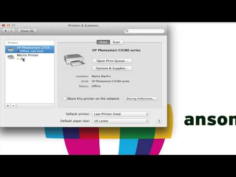Change Set Default Printer in Settings Mac OS X