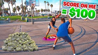 Score On Me & I'll Give You $100! Basketball Lockdown Challenge At Venice Beach!