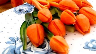 How To Make Carrot Tulips | Vegetable Carving Garnish | Food Decoration | Party Garnishing