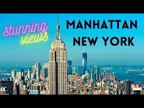 Stunning New York Manhattan Skyline Empire State Building View *HD*