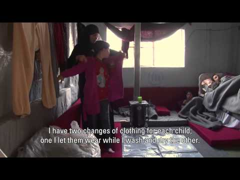 Daily life in a shelter for displaced families in Homs, Syria