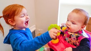 Adley helps Baby Brother with Morning Routine!! (and after afternoon nap time)