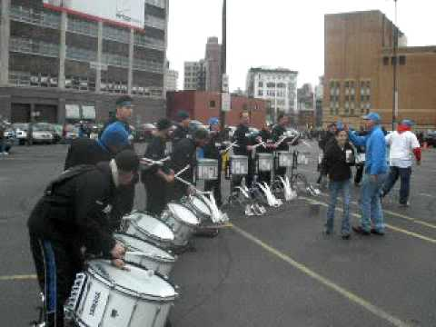 Detroit Lions Drumline Performs outside Ford Field