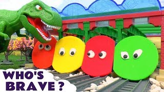 Thomas and Friends Play Doh Toy Trains with Dinosaur - Kids Guess who's afraid game ToyTrains4u