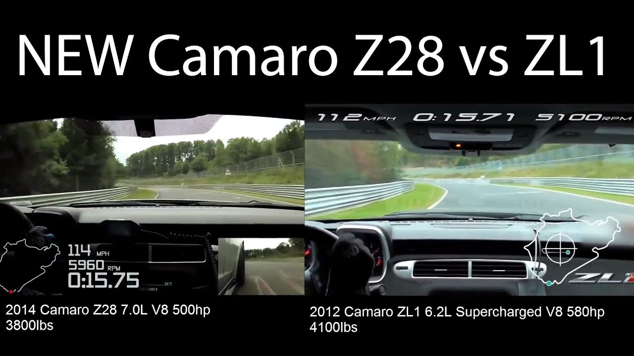 New Camaro Z28 vs Camaro ZL1 on Nurburgring - YouTube