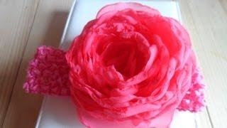 Мастер класс   Как сделать розу из Шифона Rose Fabric