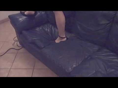 Leather couch trampling again Video
