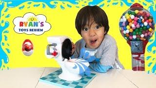 TOILET TROUBLE GAME for Kids! GROSS Potty Family Fun Egg Surprise Toy Disney Cars Dubble Bubble
