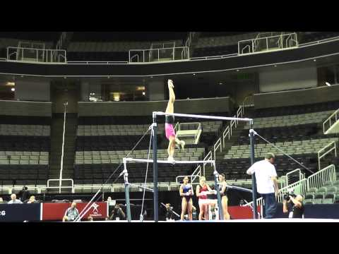 WOGA, Nastia Liukin - Uneven Bars - 2012 U.S. Olympic Trials Podium Training (full set, including dismount!)