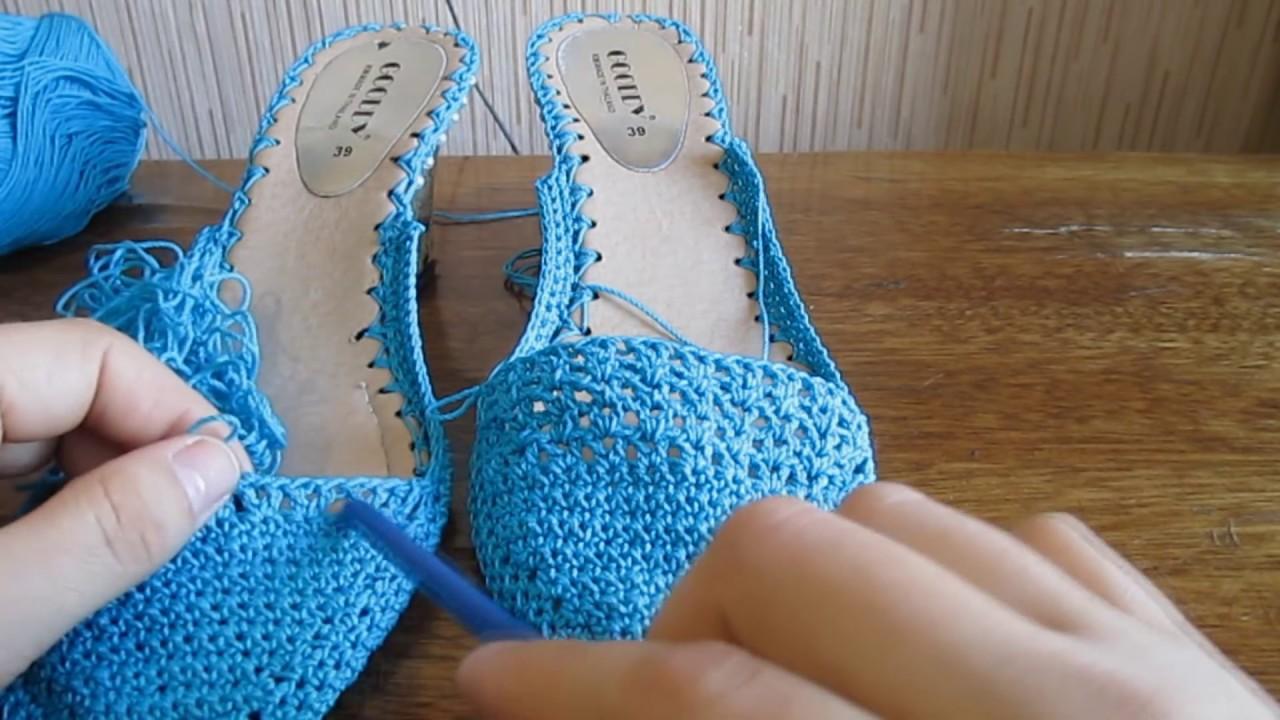 Вязание обуви на подошве крючком 85