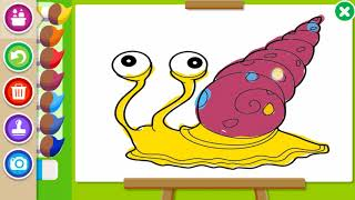 Coloring pages for kids, video for kids, video online, paint the snail and fish, learn and coloring