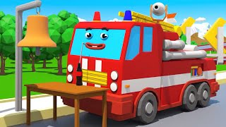 Fire Truck Rescues FIREFIGHTER BELL   3D Amination for kids - Car Cartoon Compilation