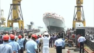 Indian navy launches new destroyer warship