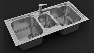 3ds max tutorial, modeling kitchen sink