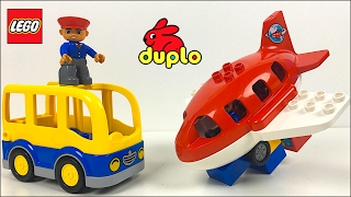 STOP MOTION FUN WITH LEGO DUPLO VEHICLES - CEMENT TRUCK CARS AIRPLANE FIRETRUCK BUS & TOW TRUCK