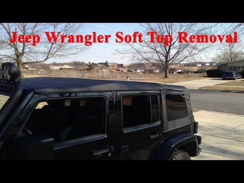 How to: Put Down (4 Door) Jeep Wrangler Soft Top *with one person*
