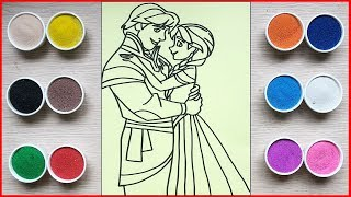 Đồ chơi trẻ em, TÔ MÀU TRANH CÁT CÔNG CHÚA ANNA & HOÀNG TỬ - Colored sand painting toys (Chim Xinh)