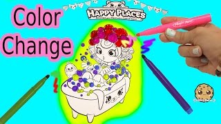 Maker Coloring Shopkins Happy Places Shoppies Doll In Bathtub with Color Changing Magic Pens