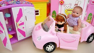 Baby doll pink car and Closet surprise toys play