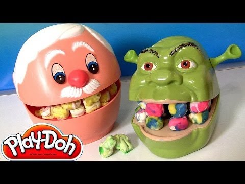 Play Doh Doctor Drill 'n Fill Dentist Shrek Rotten Root Canal Play-Doh Dentista Vintage Review