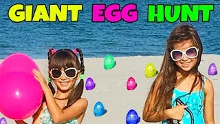 GIANT SURPRISE TREASURE EGG HUNT AT THE BEACH - Opening Toy Surprises - Shopkins, Num Noms