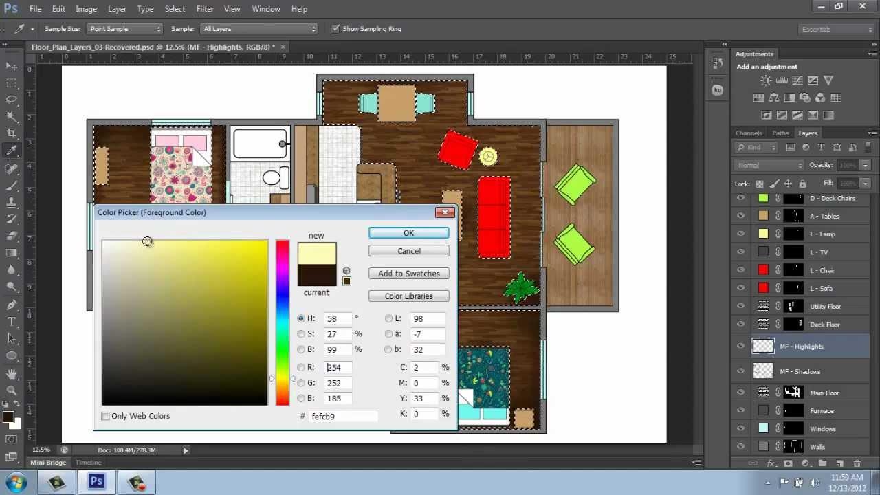 Adobe Photoshop Cs6 Rendering A Floor Plan Part 5