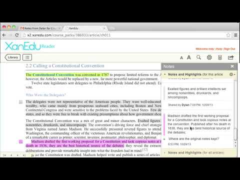 myXanEdu Web Reader - Importing Shared Notes and Highlights