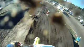 Woodland Mx 1-8-12 Greg Brooks 128 Plus 30A First lap crash!!GO-PRO
