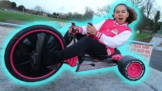 TIANA'S CRAZY GREEN MACHINE at SKATEPARK   Drift Trike Fun