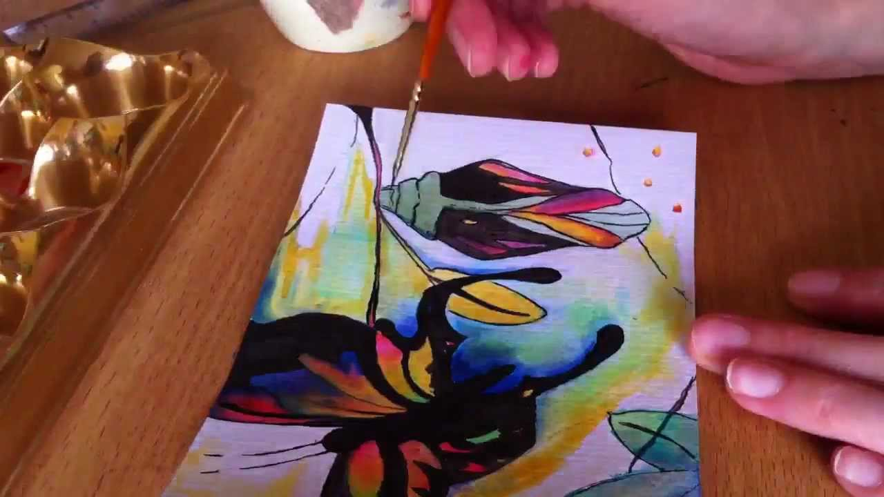 Painting a butterfly using ink youtube for Painting while drinking wine