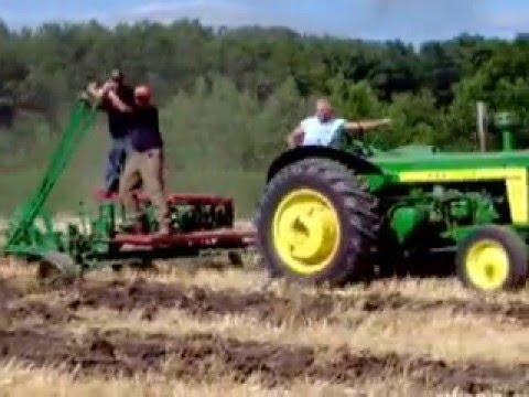 John Deere 820 Plowing with vintage Prairie plow
