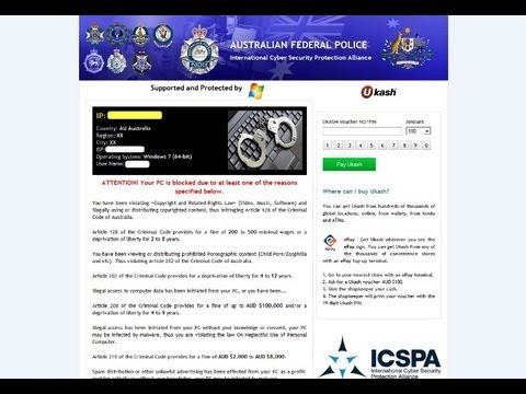 How to remove Australian Federal Police (AFP) Ukash/ICSPA virus(UNBLOCK GUIDE)