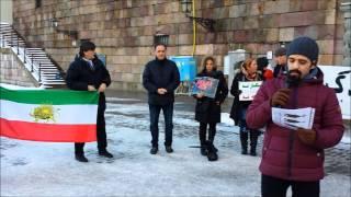 تظاهرات مخالفین جمهوری اسلامی مقابل ساختمان مجلس میدان مینتوریت استکهلم 2015.02.07