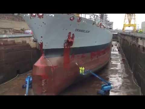 Dry docking for tanker RFA Orangeleaf in Birkenhead