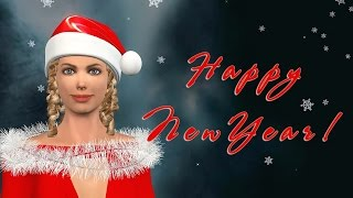 Funny Happy New Year 2018. Santa Girls Happy New Year