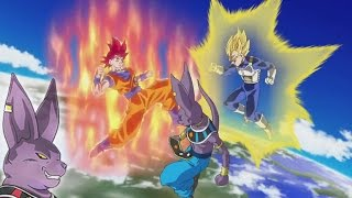 Dragon Ball Champa Watches! Super Saiyan God Goku vs Beerus (Anime IC Carddass Card Game Cutscene)