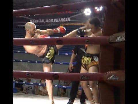"Muay Thai Fight Clément ""Kem"" Lacroix VS Jaosamut Sitjack. Suksom Muay Thai Stadium koh Phangan"