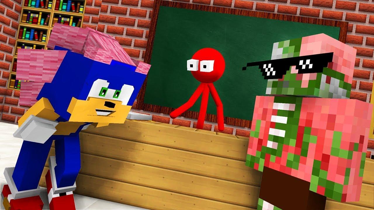 Monster School : AVM SHORTS - STICKMAN & SONIC THE HEDGEHOG CHALLENGE - Minecraft Animation