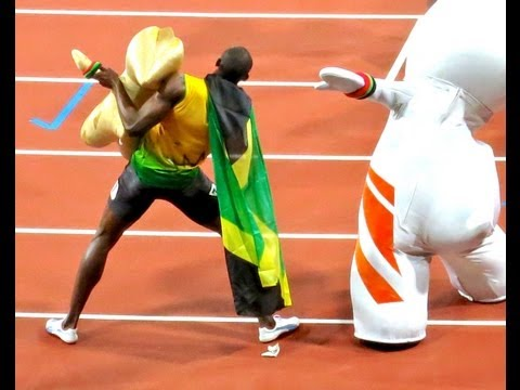 London  Summer Olympics 2012 Usain Bolt Celebrates 100m Race Win Live