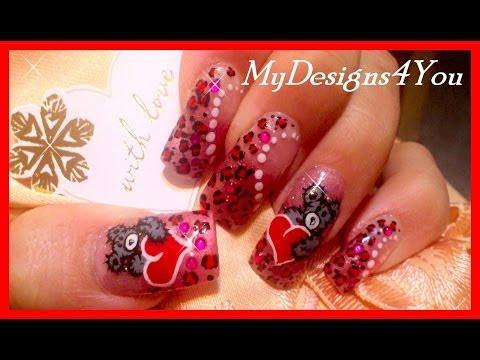 Cute Teddy Valentine's Day Nail Art Design Tutorial, Leopard Spots
