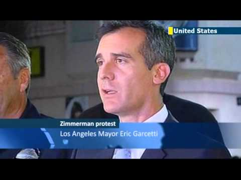 Zimmerman protests turn violent: Los Angeles Mayor Eric Garcetti calls for a return to calm